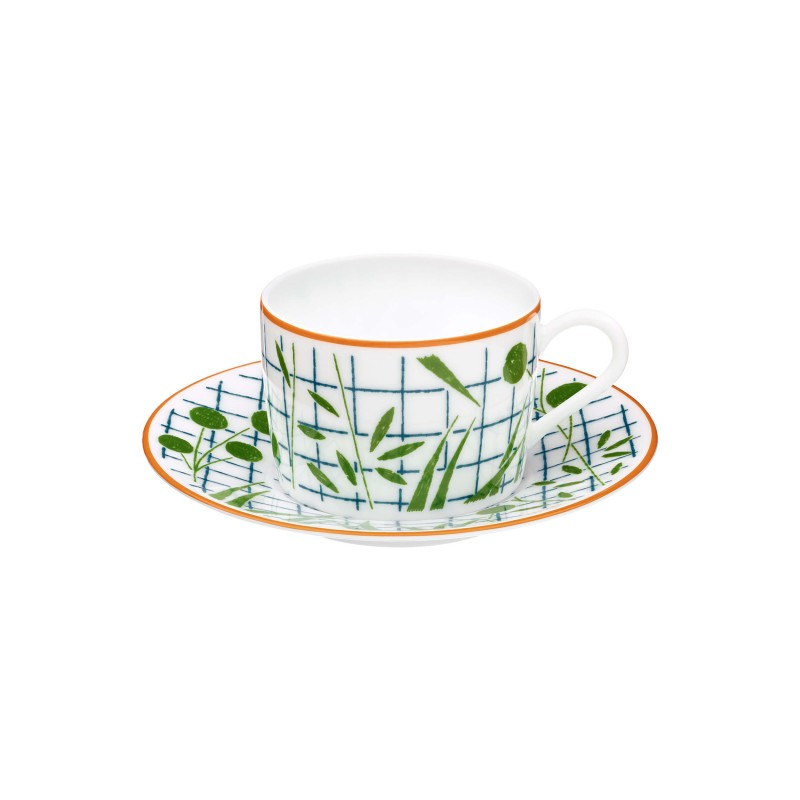 A Walk in the Garden Tea Cup and Saucer Green - Set of 2