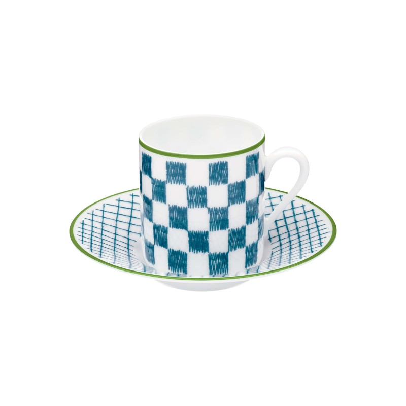 A Walk in the Garden Coffee Cup and Saucer Blue - Set of 2