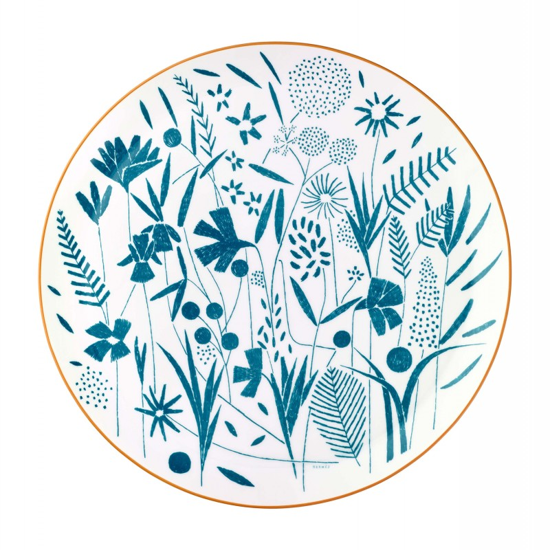 A Walk in the Garden Tart Platter Blue