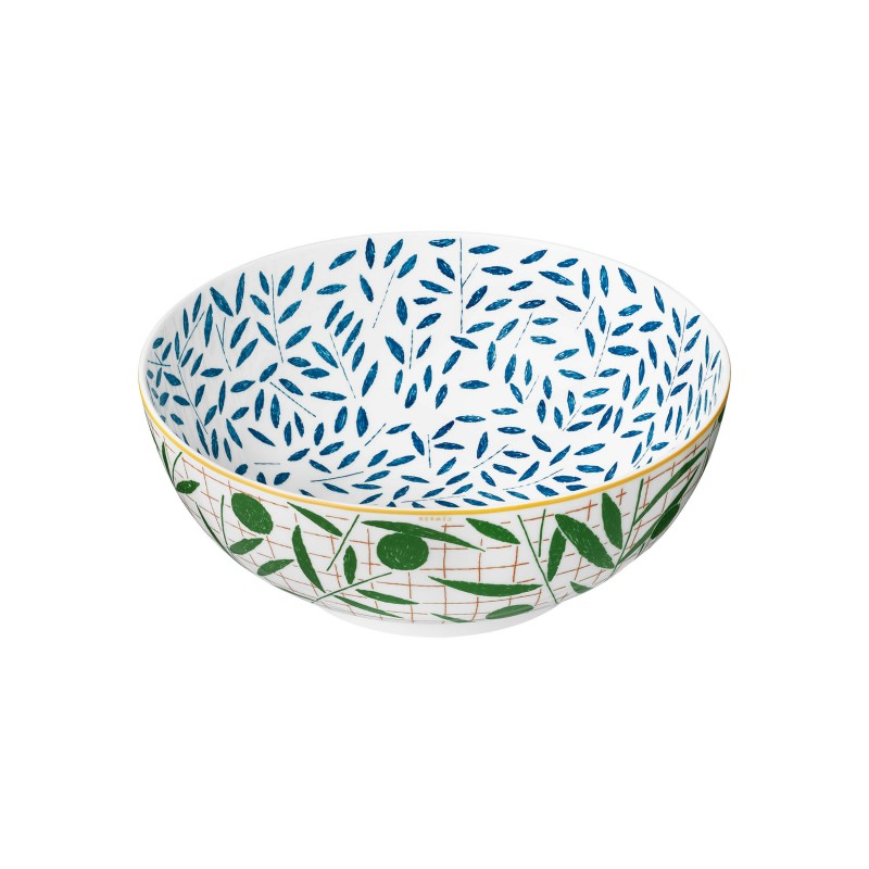 A Walk in the Garden Salad Bowl Blue