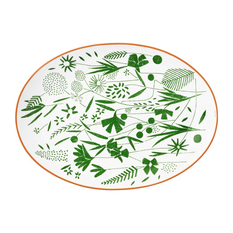 A Walk in the Garden Oval Platter Green