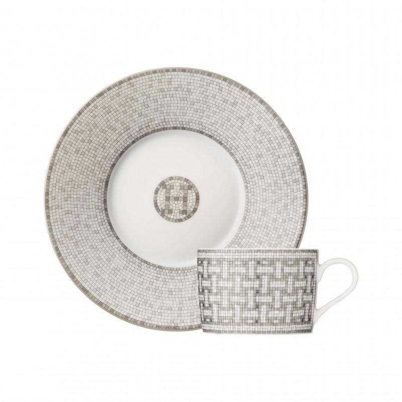 Mosaïque au 24 Platinum Tea Cup and Saucer - Set of 2