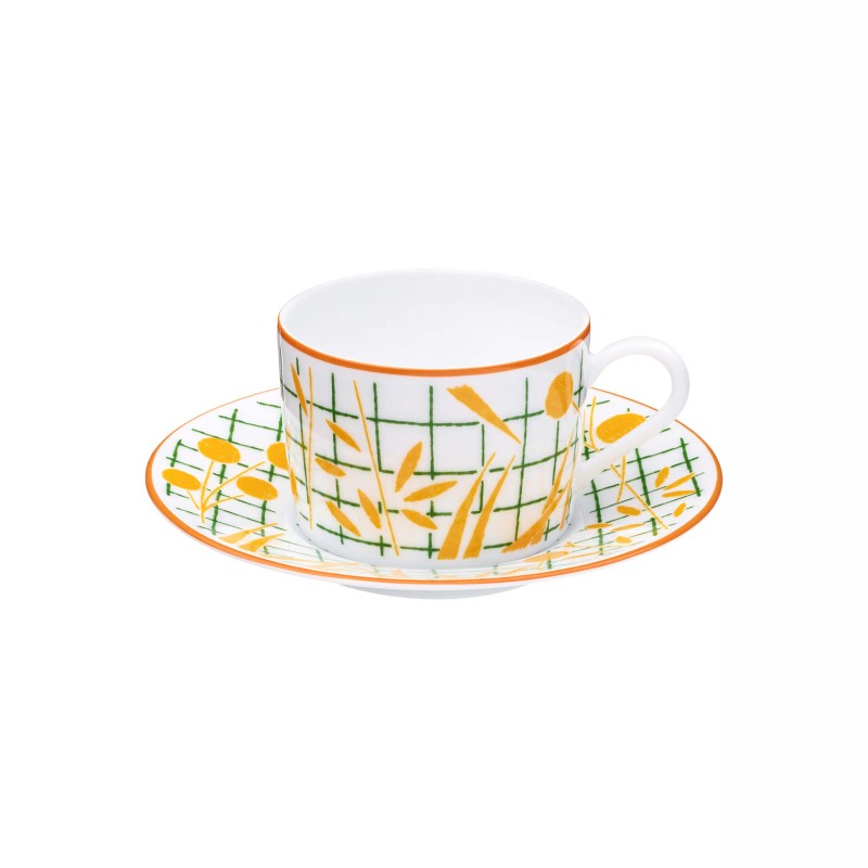 A Walk in the Garden Tea Cup and Saucer Yellow - Set of 2