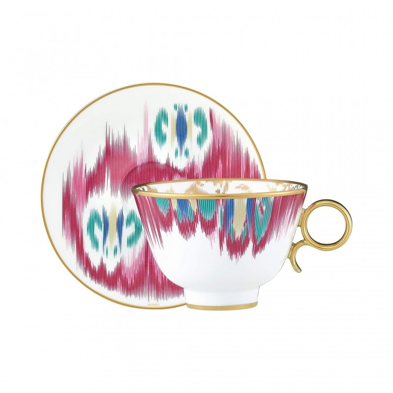 Voyage en Ikat Tea Cup and Saucer - Set of 2