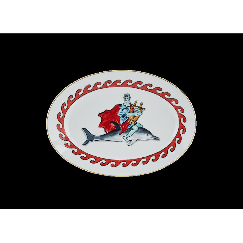 Il Viaggio di Nettuno Oval Platter Dolphin White