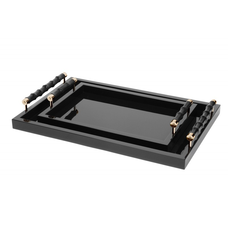 Lacquered Tray with Bamboo Handles Black