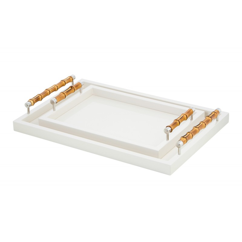 Small Lacquered Tray with Bamboo Handles Ivory