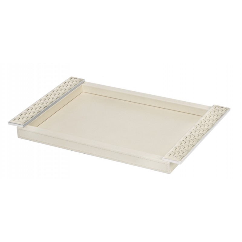 Small Tray with Plate Handles Ivory