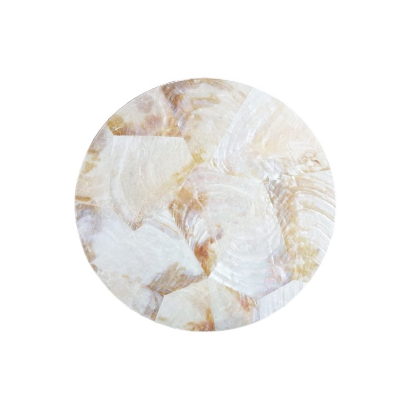 Pearl Round Coasters White Shell