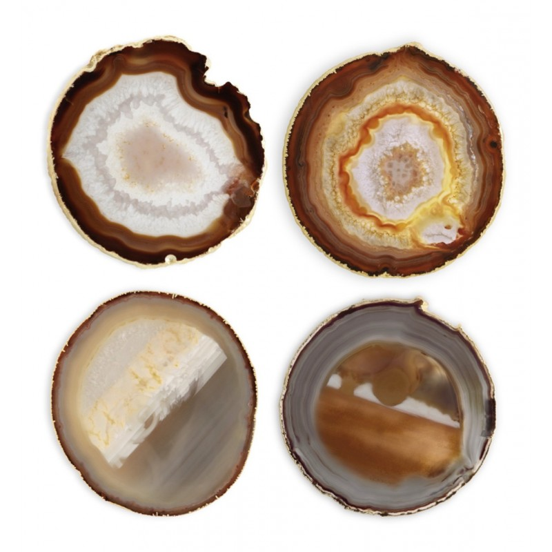 Agate Set of 4 Coasters Natural