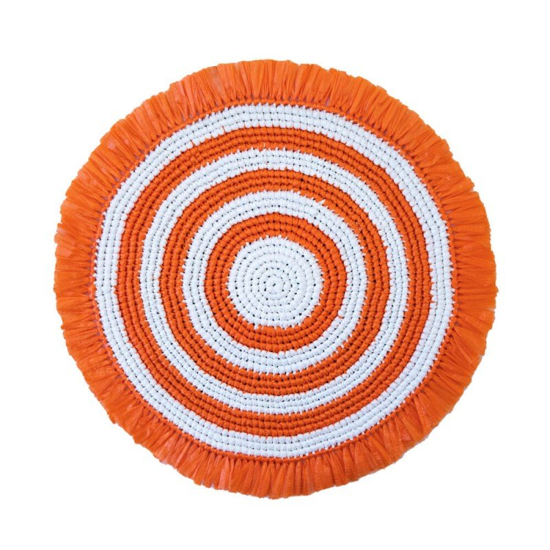 Plastic Twine Placemat Orange and White