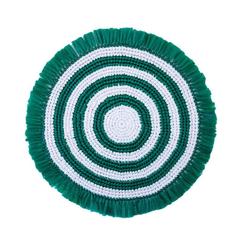 Plastic Twine Placemat Green and White