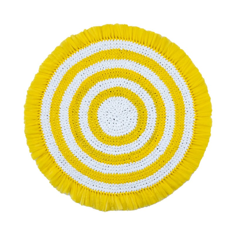 Plastic Twine Placemat Yellow and White