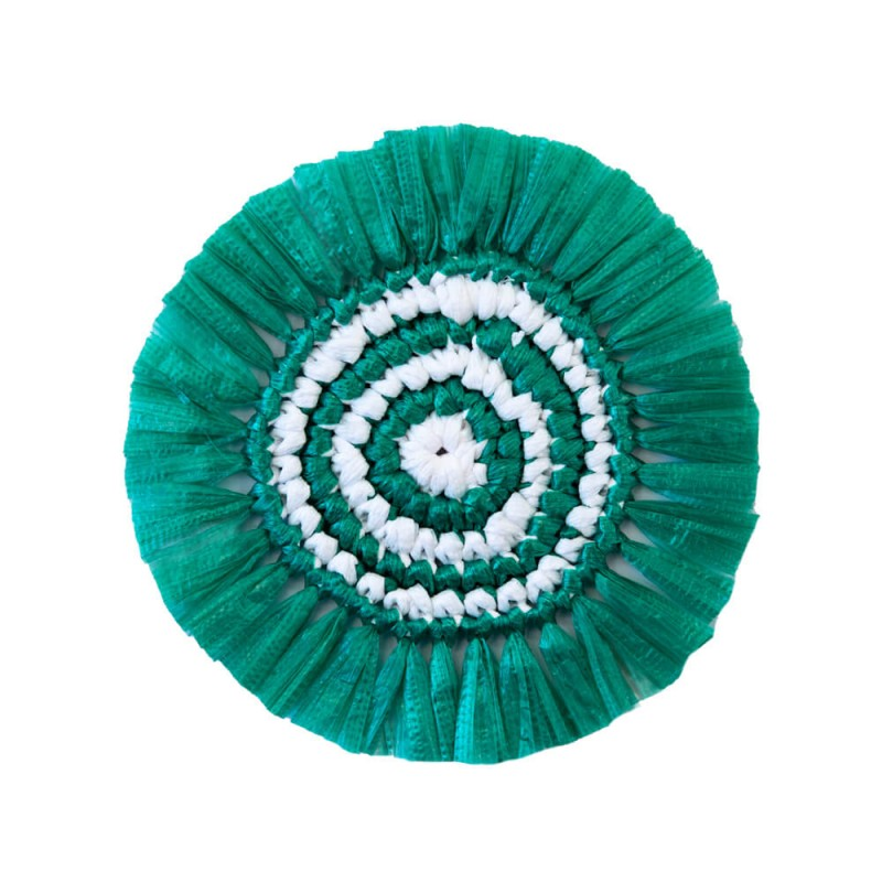 Plastic Twine Coaster Green and White