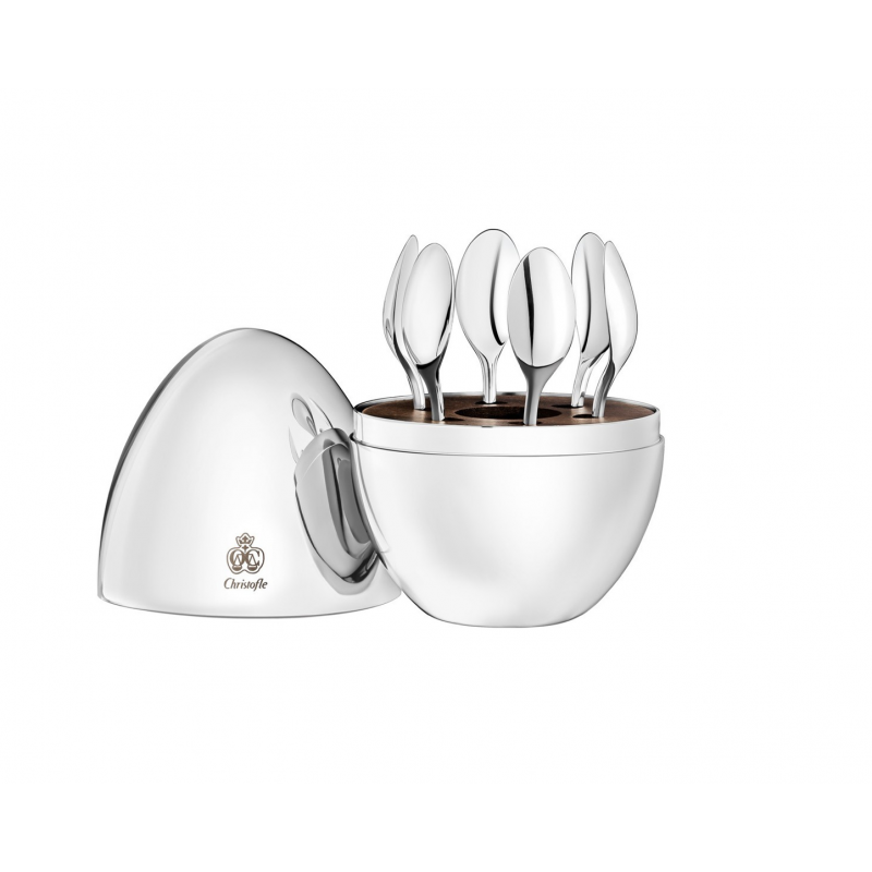 Mood by Christofle Silver Plated Set of 6 Espresso Spoons in Chest