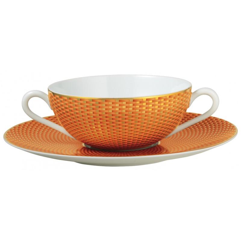 Trésor Orange Bol à Bouillon avec Soucoupe