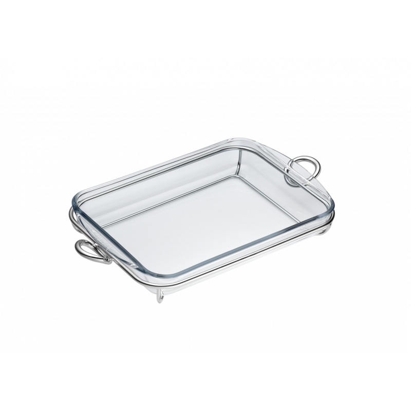 Vertigo Silver Plated and Glass Rectangular Baking Dish
