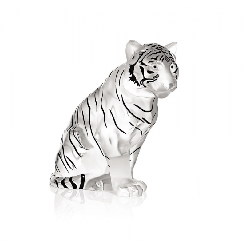 Sitting Tiger Grand Sculpture Clear Crystal Black Enamelled Numbered Edition