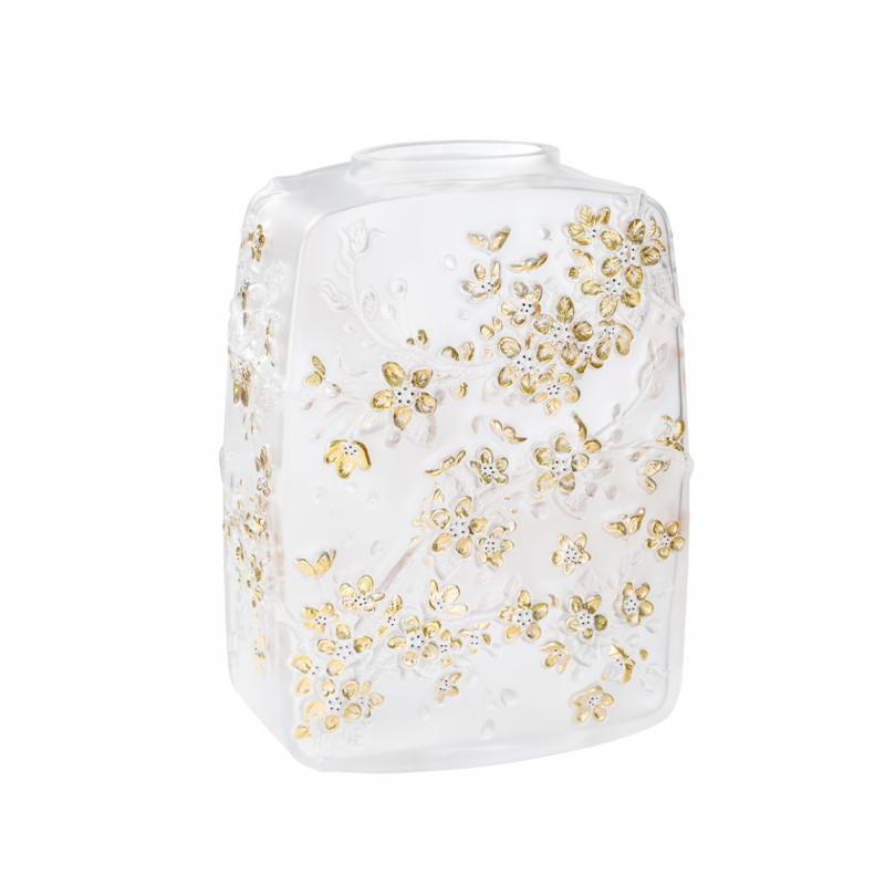 Fleurs de Cerisier Vase Clear Crystal Gold Stamped Black Enamelled