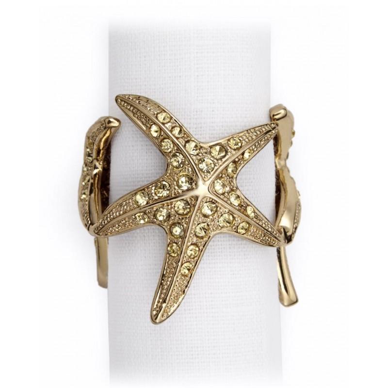 Starfish Napkin Jewels Gold - Set of 4