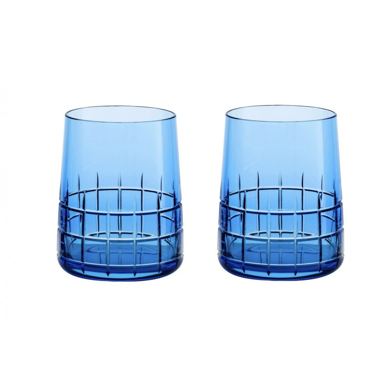 Graphik Crystal Water Glass Blue - Set of 2