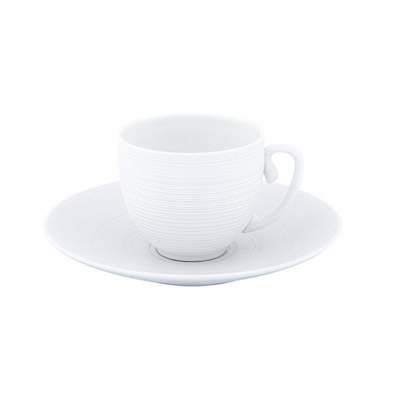 Hémisphère White Satiné  - Moka Cup with Saucer