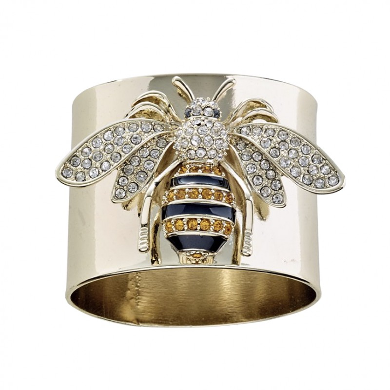 Stripey Bee Napkin Ring Gold - Set of 2