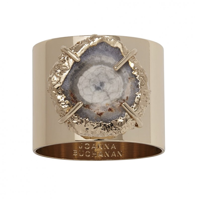 Crystal Quartz Napkin Ring Grey Gold Finish - Set of 2