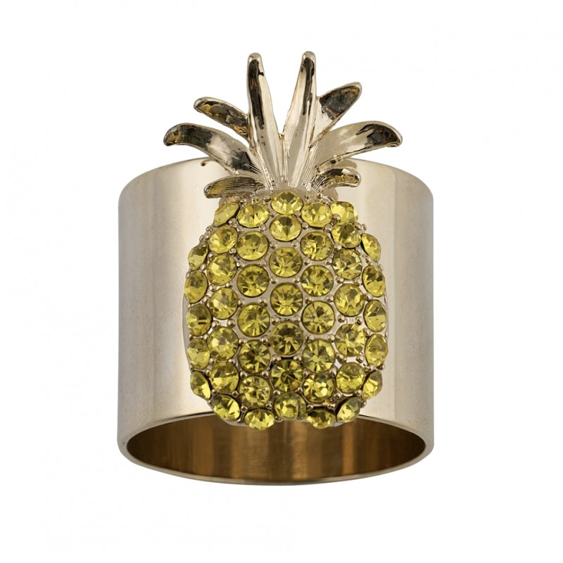 Pineapple Napkin Ring Yellow - Set of 2