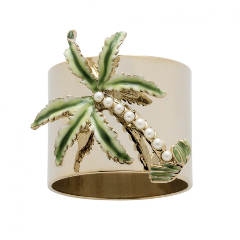 Palm Tree Napkin Ring Gold - Set of 2