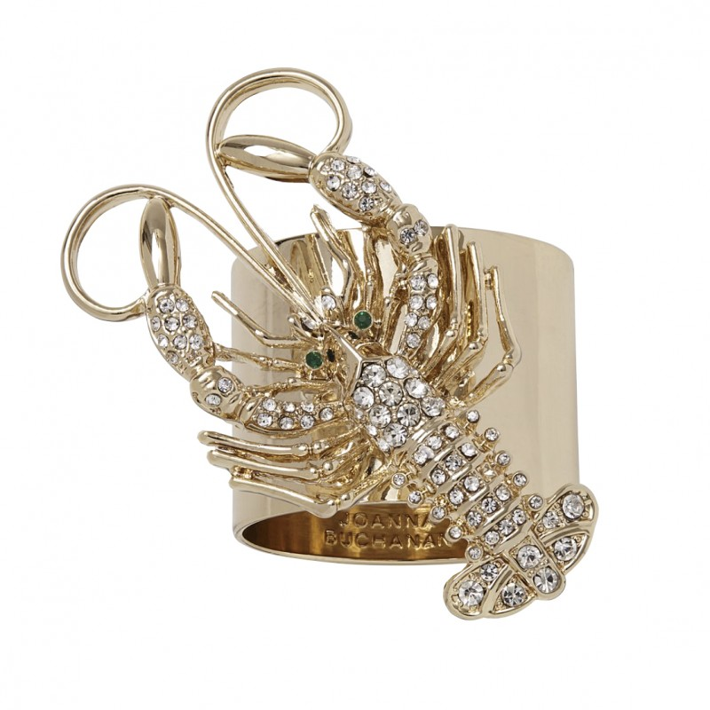 Sparkle Lobster Napkin Ring Gold - Set of 2