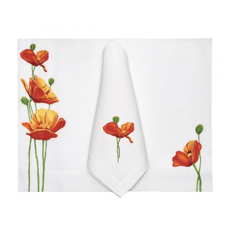 Placemat and Napkin Coquelicot