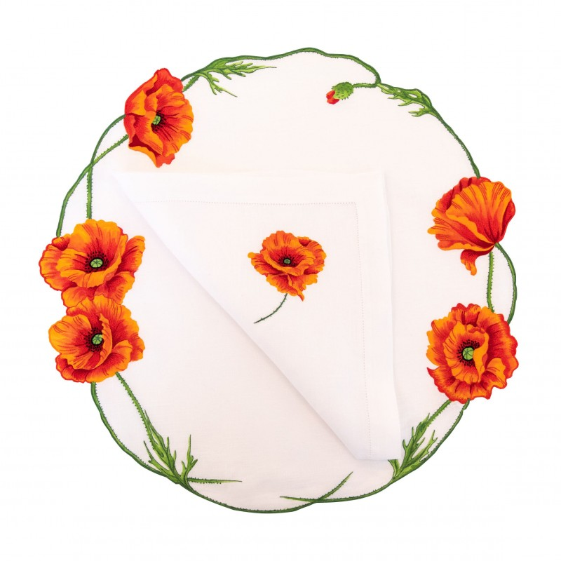 Placemat and Napkin Coquelicot Round