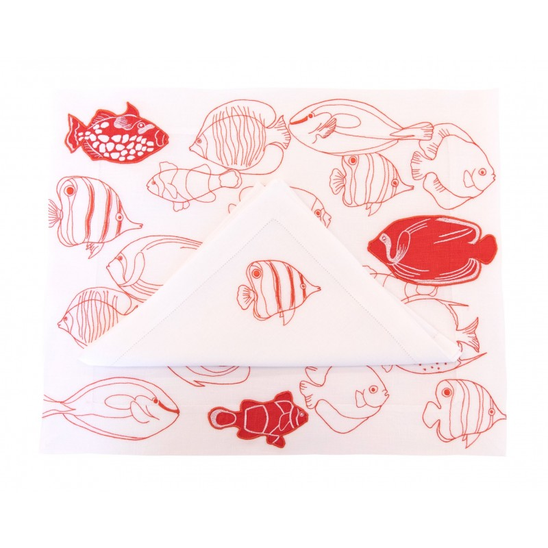 Placemat and Napkin Fish Line Up Coral