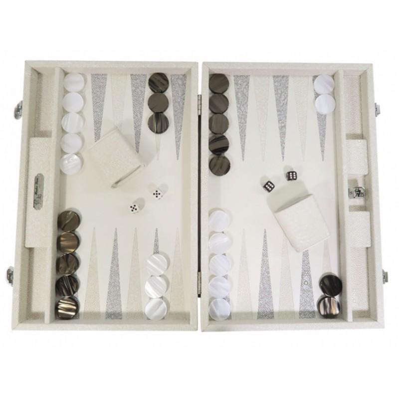 Gabin - Backgammon Shagreen Effect Leather Large Beige