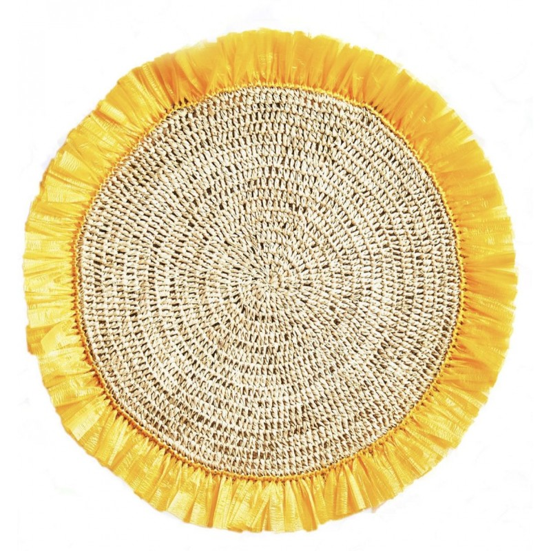 Wooven Rattan Placemat Yellow / Rattan