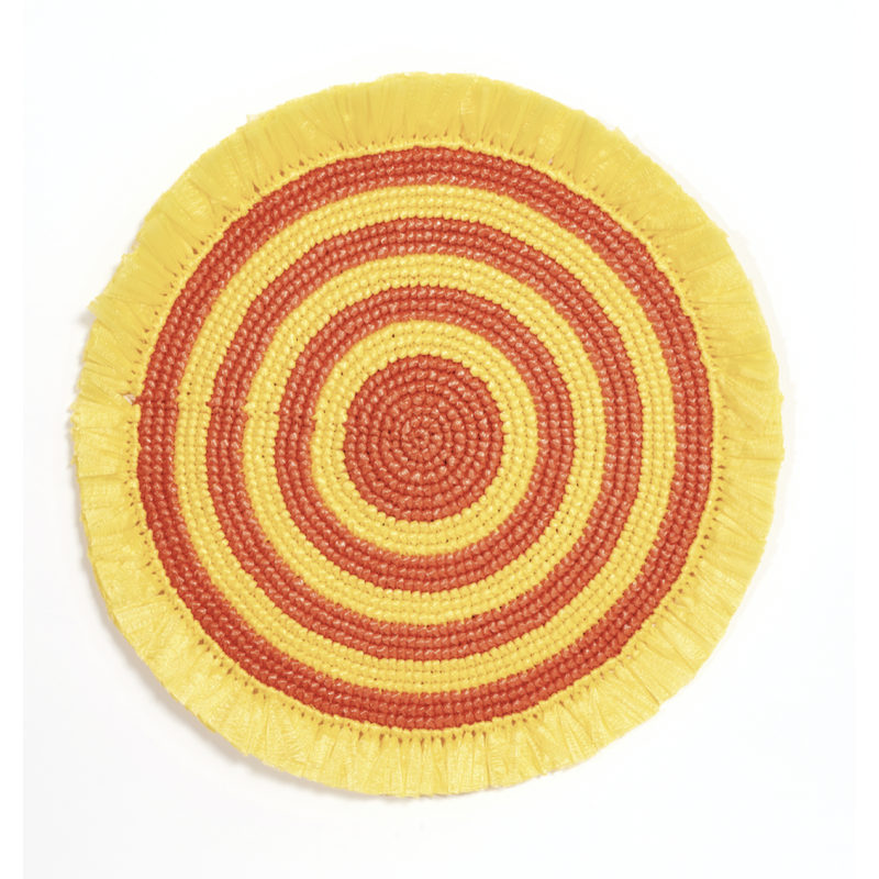 Plastic Twine Placemat Canary Yellow and Orange