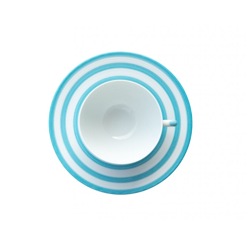 Hémisphère Turquoise Tea Cup Saucer Stripes