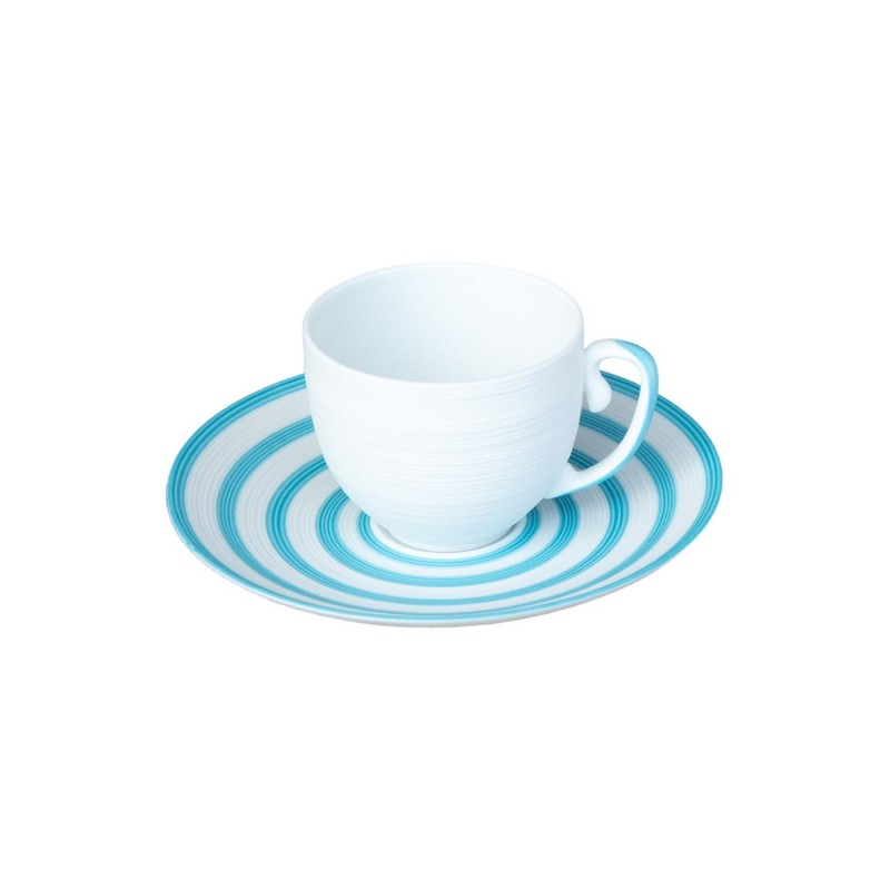 Hémisphère Turquoise Coffee Cup and Saucer Stripes