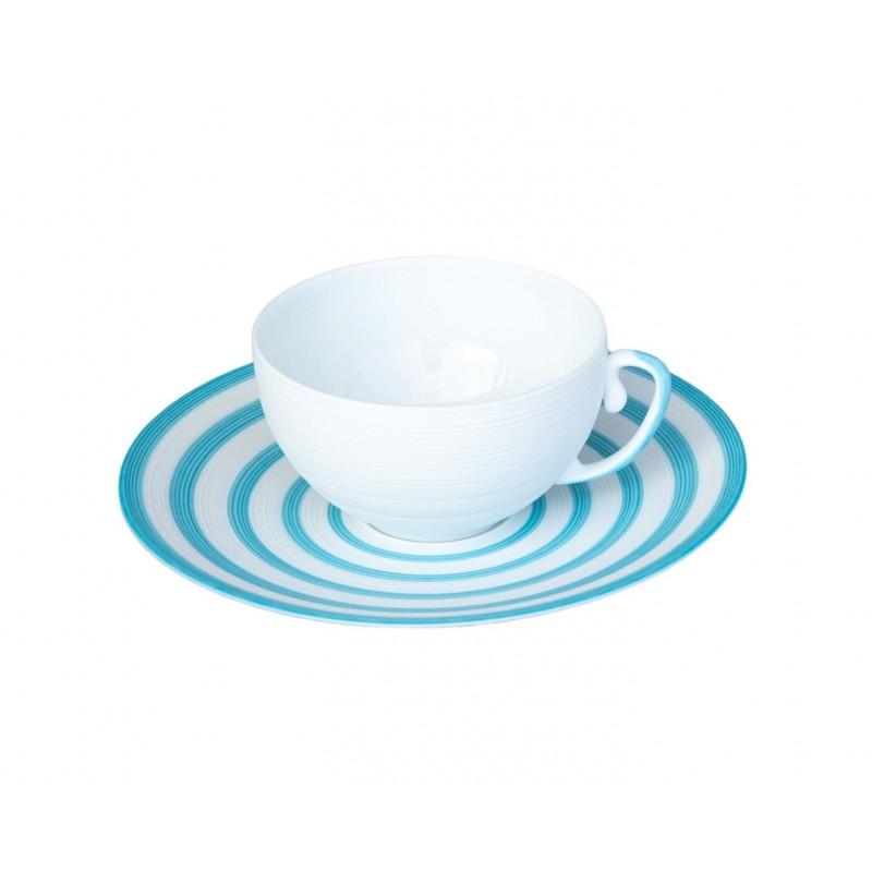 Hémisphère Turquoise Tea Cup and Saucer Stripes