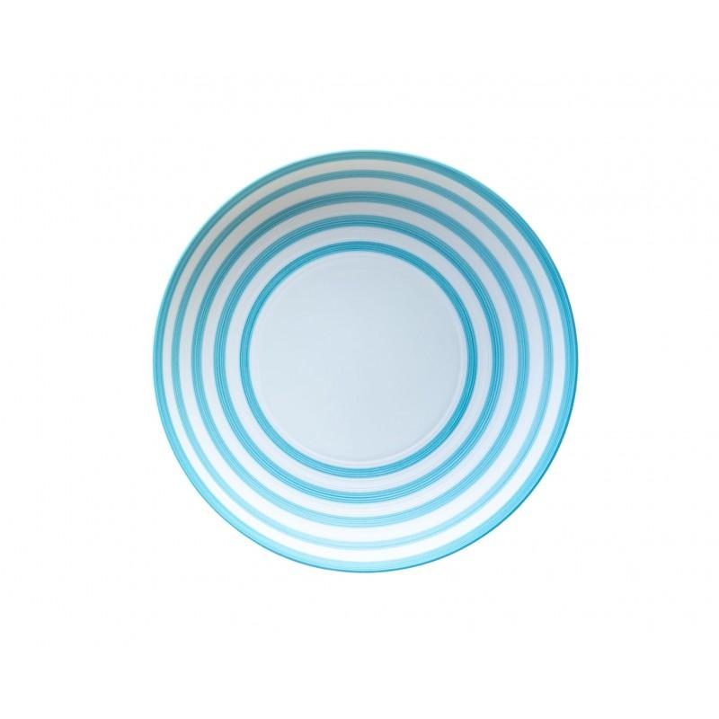Hémisphère Turquoise Medium Pasta Plate Stripes