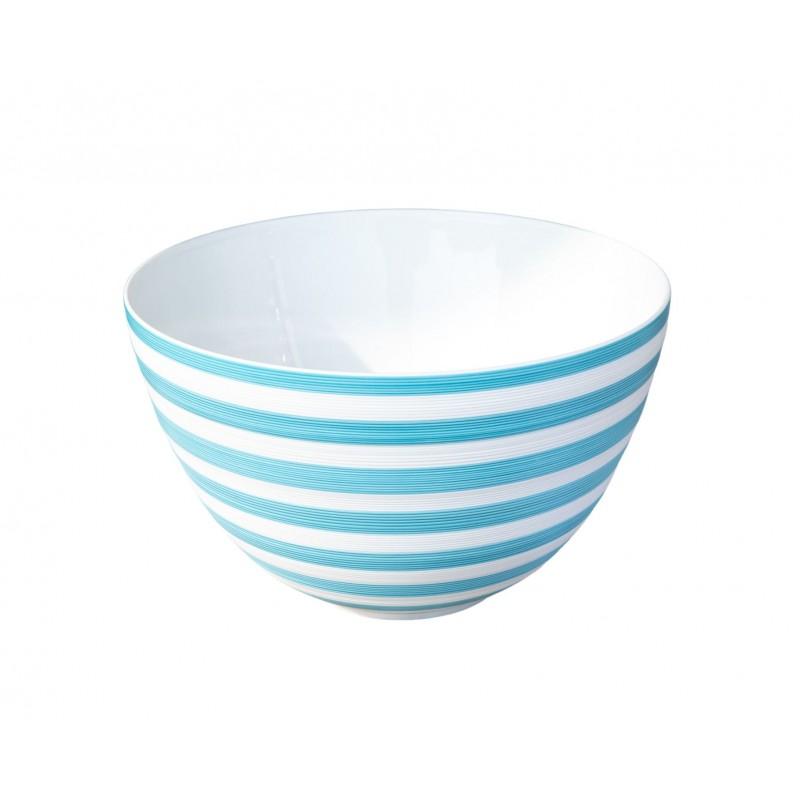Hémisphère Turquoise Maxi Salad Serving Bowl Stripes