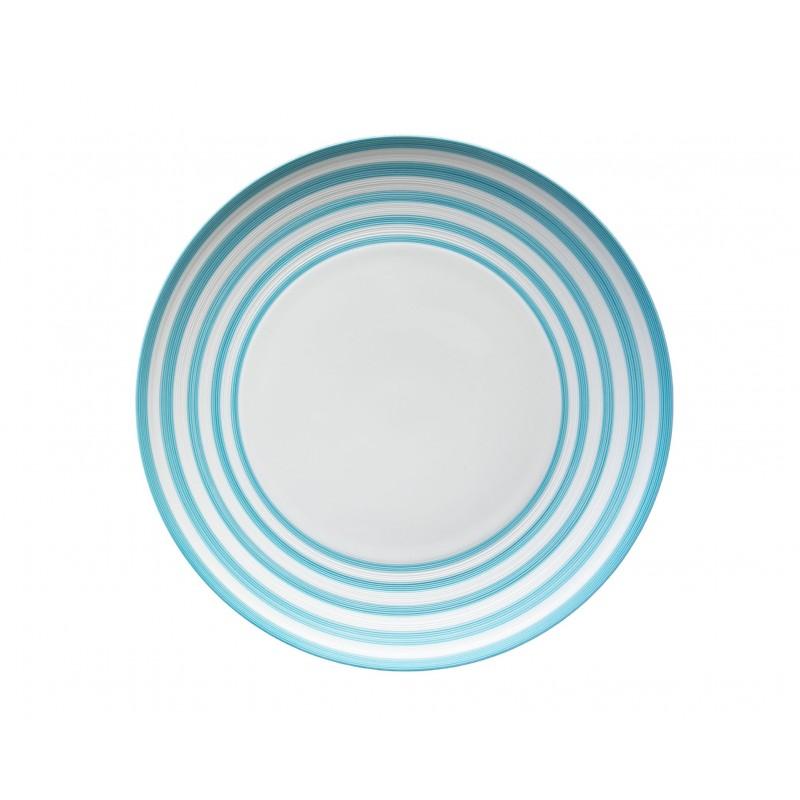 Hémisphère Turquoise Medium Flat Dish Stripes