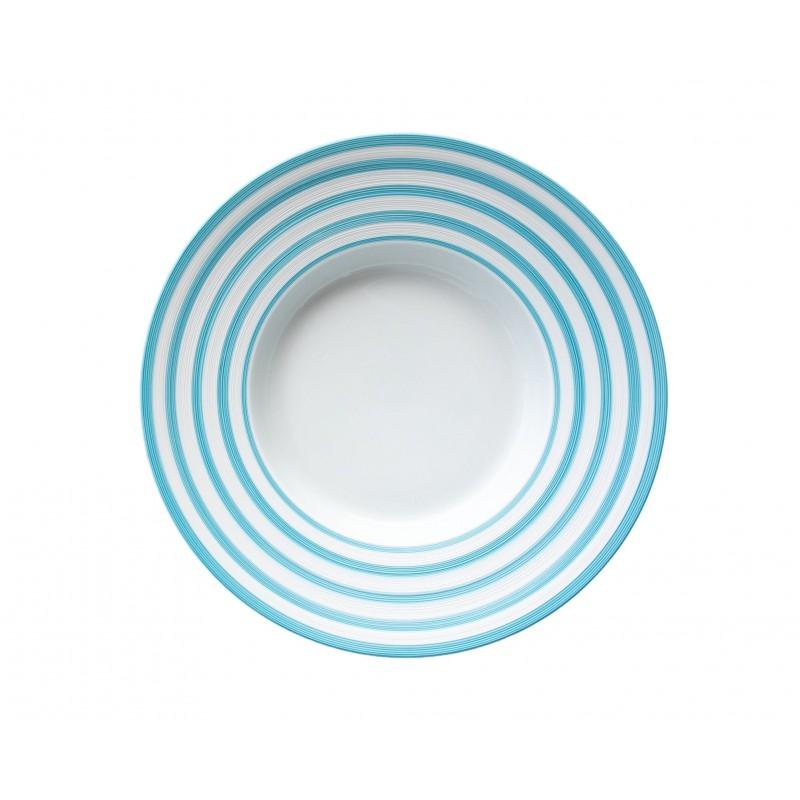 Hémisphère Turquoise Flat Dish with Rim Stripes