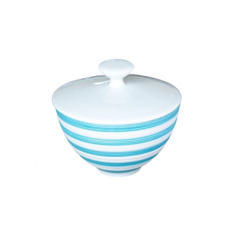 Hémisphère Turquoise Small Covered Sugar Bowl Stripes