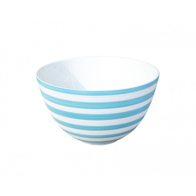 Hémisphère Turquoise Medium Salad Serving Bowl Stripes
