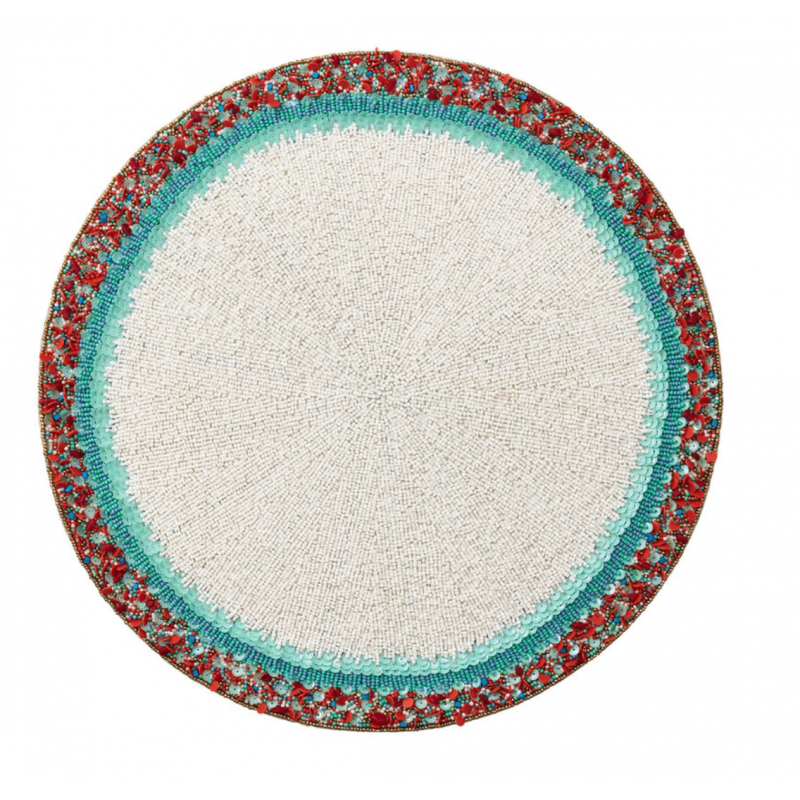 Amalfi Placemat White Turquoise and Coral