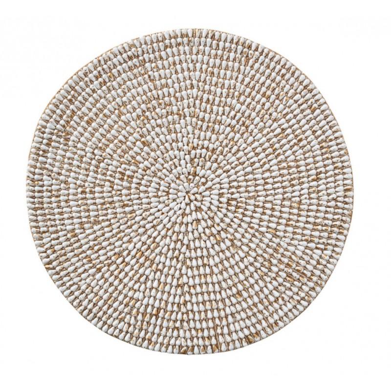 Jackson Round Placemat White Gold