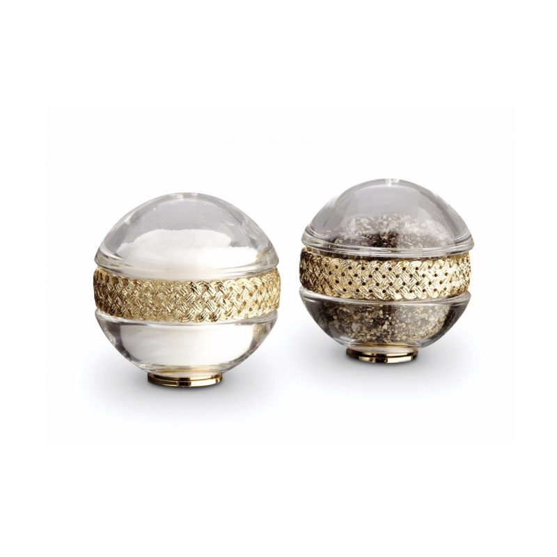 Set Braid Plated Salt + Pepper Shakers Gold