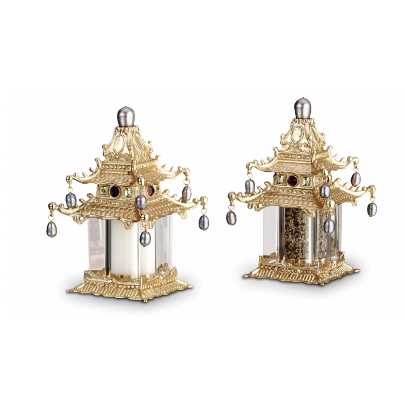 Pagoda with Crystals  + Fresh Water Pearls Plated Salt and Pepper Shakers